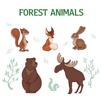 Vector illustration, satz niedliche waldtiere einer karikatur. eichhörnchen, fuchs, hase, bär, elch.