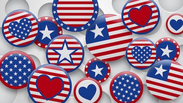 Vector illustration verschiedener usa-symbole in den roten und blauen farben auf weißem hintergrund mit löchern. unabhängigkeitstag vereinigte staaten von amerika
