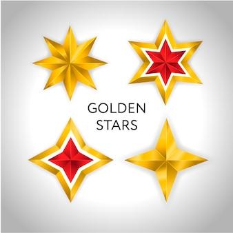 Vector illustration von 4 goldsternen weihnachtsfeiertag 3d des neuen jahres