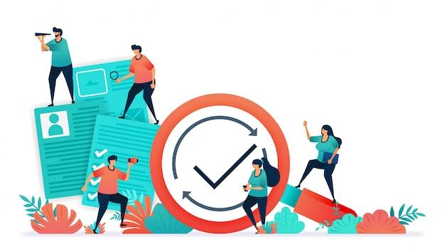 Vector illustration von angestellteneinstellungsdokumenten, umfragen, tests, fragebögen.