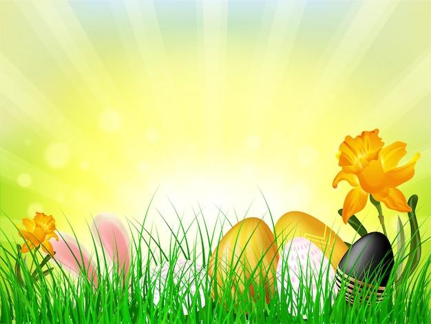 Vector illustration von den bunten ostereiern, die im gras auf s versteckt werden