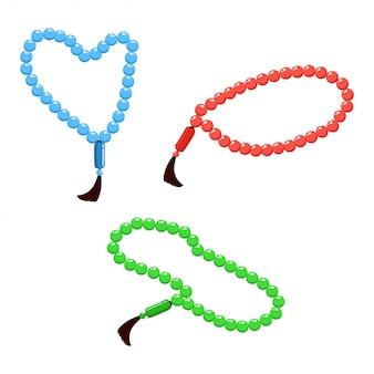 Vector illustration von den moslemischen gebetsperlen rot, grün und blau