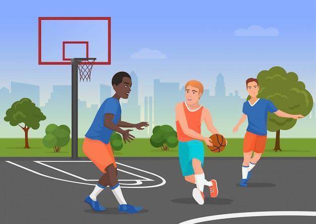 Vector illustration von den schwarzweiss-leuten, die streetball auf dem spielplatz spielen.