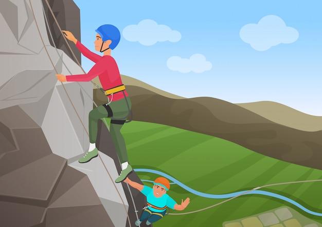 Vector illustration von frome über zwei männern mit der berufsausrüstung, die auf großem felsen klettert.