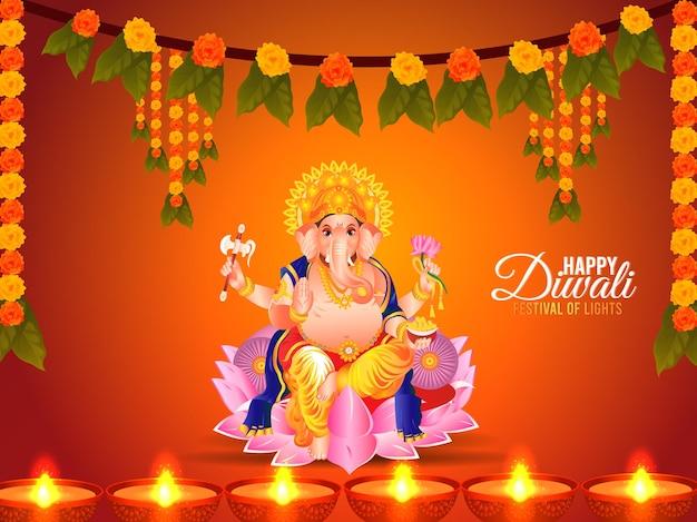 Vector illustration von lord ganesha für glücklichen diwali-feierhintergrund