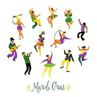 Vector illustration von lustigen tanzenmännern und -frauen in den hellen kostümen