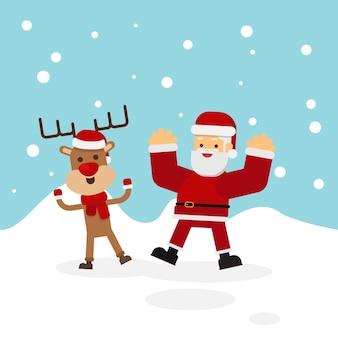Vector Illustration von Santa und von Rotwild auf einem Schneehintergrund