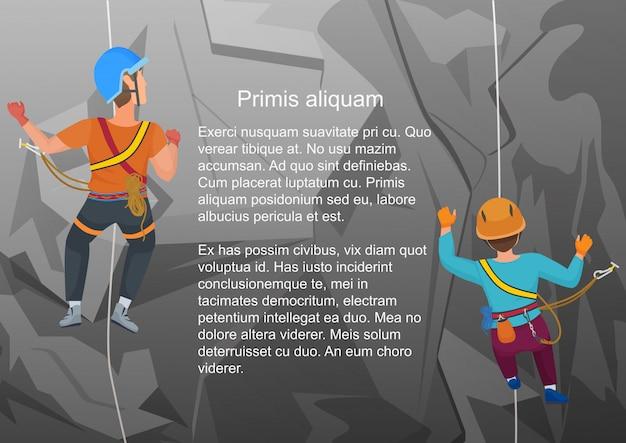 Vector illustration von zwei alpinisten, die auf felsen in der hinteren ansicht klettern.