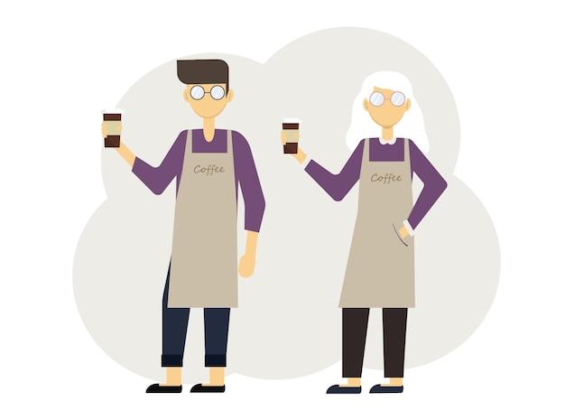 Vector illustration von zwei baristas mann und frau mit gläsern kaffee und in uniform mit schürzen