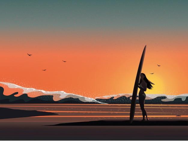 Vector illustrationsbild des sommerstrandes während sonnenaufgang oder sonnenuntergang.