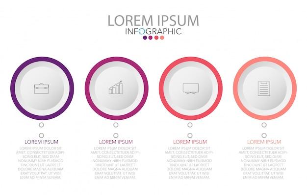 Vector infographic-aufkleberdesignschablone mit ikonen und 4 wahlen oder schritten