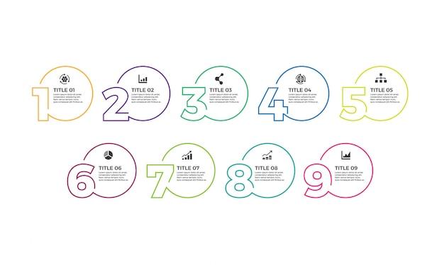 Vector infographic-designschablone mit ikonen und 9 zahlwahlen oder -schritten.