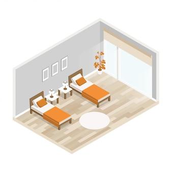 Vector innenwohnzimmer mit möbeln, hellen massivholzböden und grauen wänden