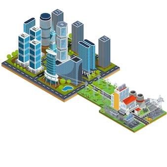 Vector isometrische 3d-illustrationen des modernen stadtviertels mit wolkenkratzern und einem nahe gelegenen kraftwerk