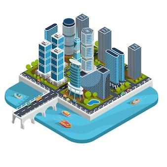 Vector isometrische 3d-illustrationen von modernen städtischen viertel mit wolkenkratzern, büros, wohngebäude, transport