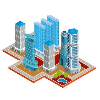 Vector isometrische 3d-illustrationen von modernen städtischen viertel mit wolkenkratzern, büros, wohngebäuden