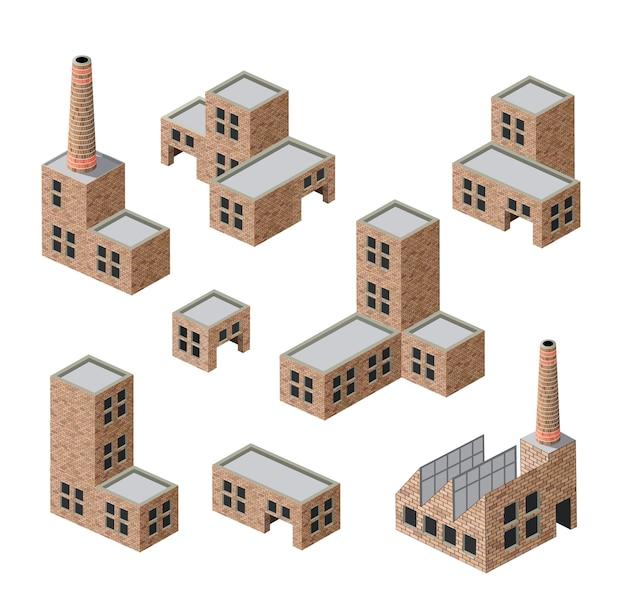 Vector isometrische bilder von industriebauten von ziegelsteinen