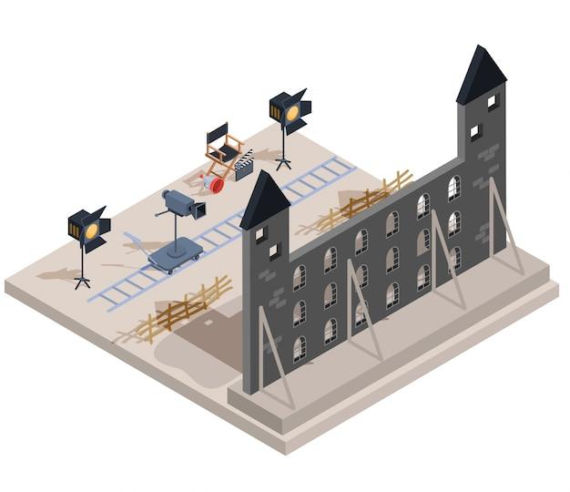 Vector isometrische darstellung eines filmsatzes mit einem satz von filmemacherelementen