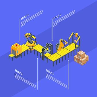 Vector isometrische fördererelemente infographics blauillustration