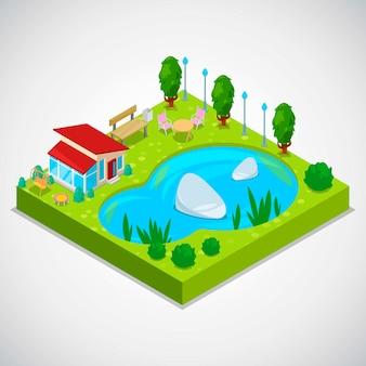Vector isometrische illustration 3d des landhäuschens mit grünem gras