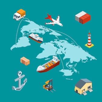 Vector isometrische marinelogistik und weltweiten versand auf weltkarte mit stiftkonzeptillustration