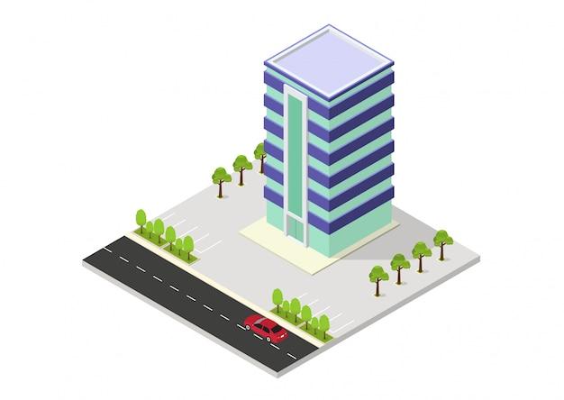 Vector isometrisches hotel, büro, wohnung oder wolkenkratzergebäude