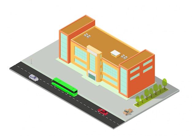 Vector isometrisches hotel, wohnung, schule oder wolkenkratzergebäude