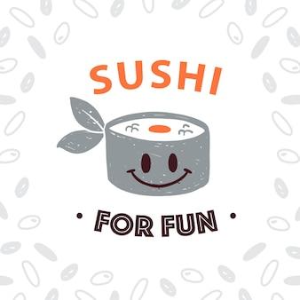 Vector japanisches lebensmittellogo-designschablone mit dem lächelnden sushi-symbol und dem reismuster lokalisiert auf weißem hintergrund. für japanische und chinesische küche, sushi-café, fast food, service-emblem, verpackung usw.