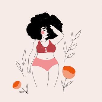Vector junge frauen im bikini-badeanzug-linienkunststil