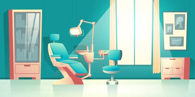 Vector kabinett des zahnarztes, karikaturinnenraum mit bequemem stuhl