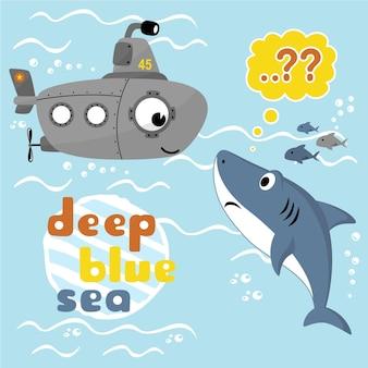 Vector karikatur des unterseeboots und des haifischs unter blauem meer