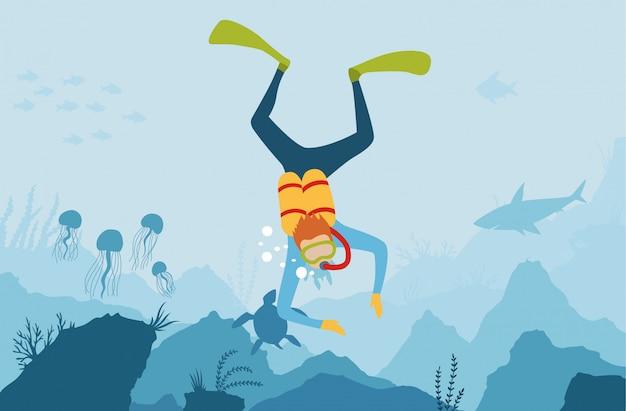 Vector karikaturart-unterwasserhintergrund mit seeflora und -fauna