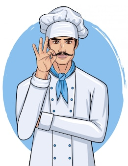 Vector karikaturartillustration eines hübschen jungen mannes in der kochuniform. chef mit schnurrbartshow