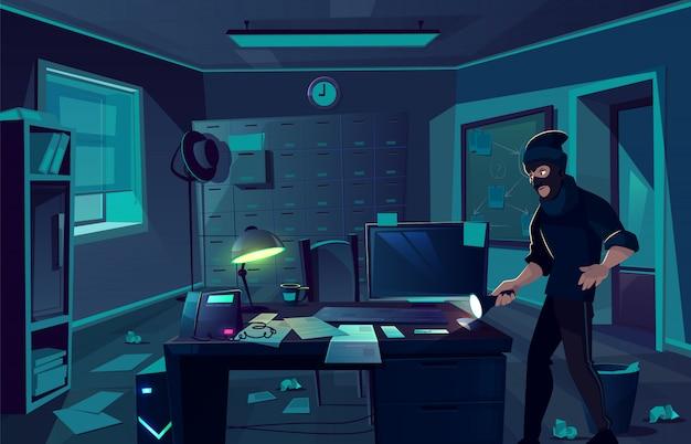 Vector karikaturhintergrund des raubüberfalls in der polizeidienststelle oder im kabinett des privaten detektivs.