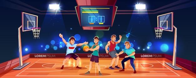 Vector karikaturhintergrund mit den sportleuten, die teamspiel auf basketballarena spielen. indoor-playgroun