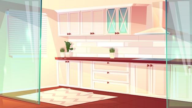 Vector karikaturillustration der leeren hellen küche in der weißen farbe. geräumiger kochsaal mit exhau