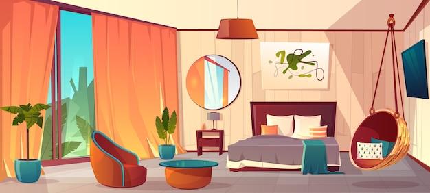 Vector karikaturinnenraum des gemütlichen hotelschlafzimmers mit möbeln - doppelbett, teppich und kamin. liv