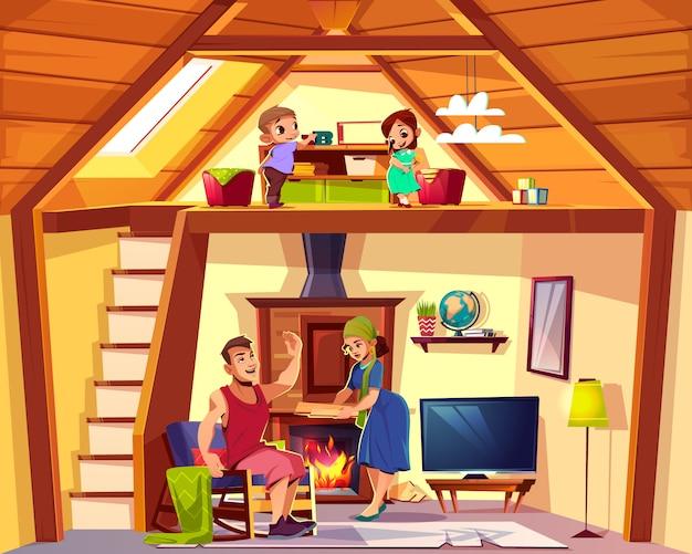 Vector karikaturinnenraum des hauses mit glücklicher familie, kinder spielen auf dachboden, mann und frau beim leben