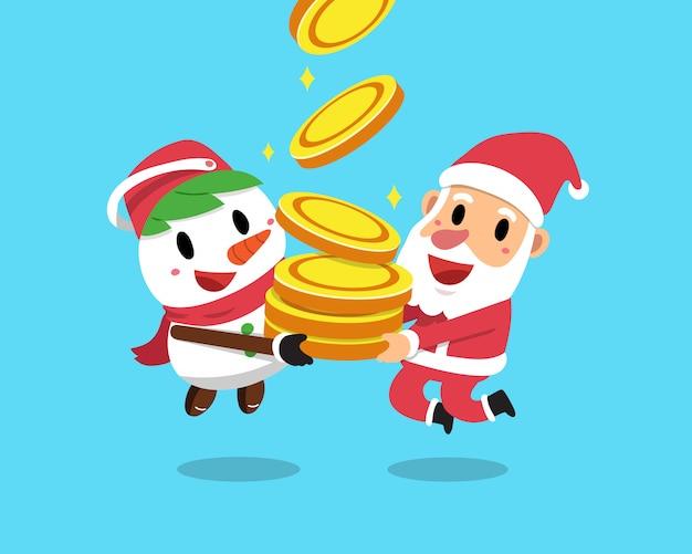Vector karikaturweihnachten weihnachtsmann und schneemann mit großem geldmünzenstapel