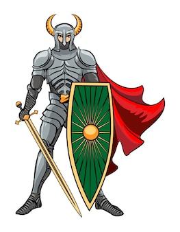 Vector knight steht in einem helm mit hörnern mit schild und schwert in einem roten umhang. vektorillustration