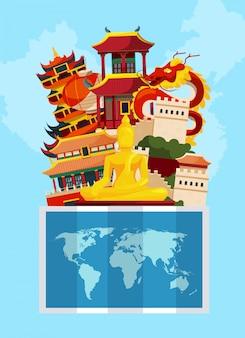 Vector konzeptillustration mit flachem artporzellananblick über weltkarte. asien-architekturgebäude und kultur, drache und pagode