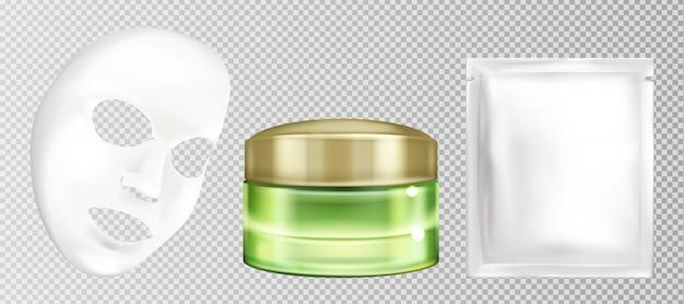 Vector kosmetische gesichtsmaske des realistischen weißen blattes 3d mit gurke