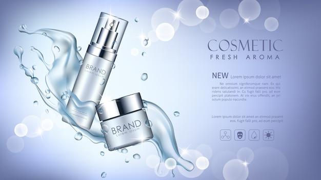 Vector kosmetische kosmetikspott oben mit dem wasser, das auf blauem hintergrund spritzt.