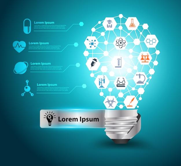 Vector kreative glühlampeidee mit chemie- und wissenschaftsikone