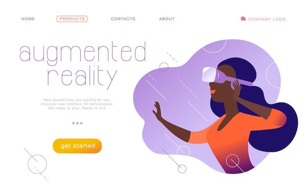 Vector landing page design-vorlage für neue vr-technologie - frau in vr-brille-headset / helm / brille in abstrakter augmented virtual reality. flacher stil. konzept für webseitenbanner, mobile app, ui