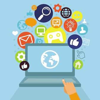 Vector laptop mit social media-konzept - flachen retrostil