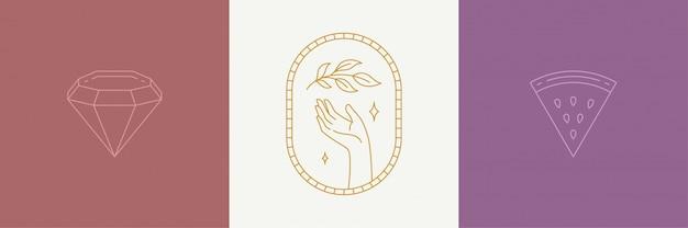 Vector line art dekoration design-elemente setzen - blätter und geste hand illustrationen einfachen linearen stil