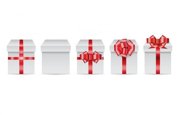 Vector linie von feiertagskästen mit rotbögen für die fröhlichen christnas geschenke, die auf weißem hintergrund lokalisiert werden