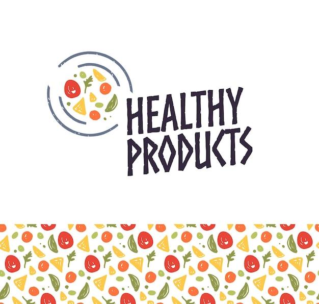 Vector logo-designschablone für gesunde produkte mit platte, lebensmittelikone und nahtlosem muster lokalisiert auf weißem hintergrund. für öko-lebensmittelladen, bauernmarkt, frischwarenladen, café, imbisswagen-emblem.