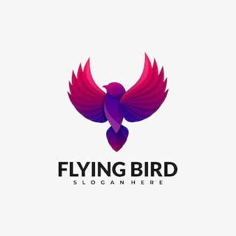 Vector logo illustration flying bird gradient bunter stil.